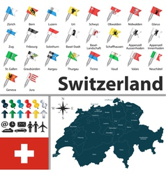 Switzerland map with flags vector