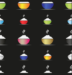 Various color asian food bowl with hot rice food vector