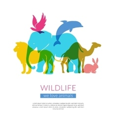 Wildlife animals flat silhouettes composition vector