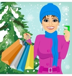 Woman shopping on christmas winter day vector