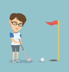 young caucasian golfer hitting a ball vector image vector image
