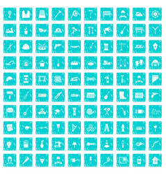 100 tools icons set grunge blue vector