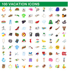 100 vacation icons set cartoon style vector