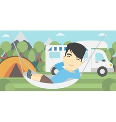 Man lying in hammock in front of motor home vector