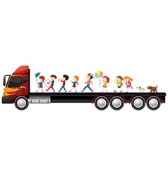 Children in the band on lorry truck vector