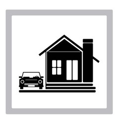 Beauty home with car icon vector
