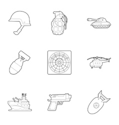 War equipment icons set outline style vector