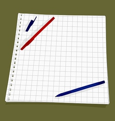 Leaf from a notebook into a square vector