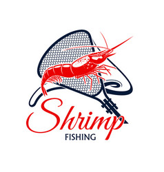 Fishing trip icon of shrimp and fishnet vector