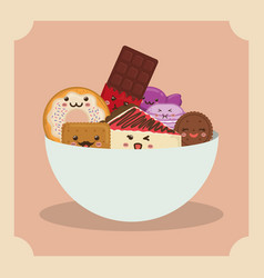 Sweet dessert cartoon vector
