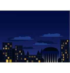 Night cityscape in blue colors vector
