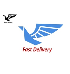 Delivery or shipping emblem with flying bird vector