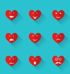 Set flat icons of smiles heart style with long vector