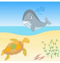 Sea creatures on a beach vector