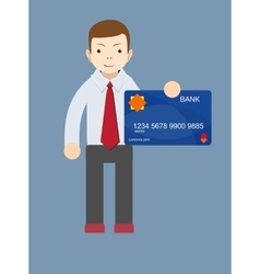 Man holding a bank card - vector