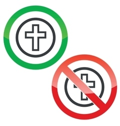 Christian cross permission signs vector
