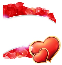 Red valentines hearts and petals vector