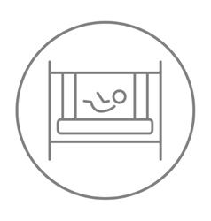 Baby laying in crib line icon vector