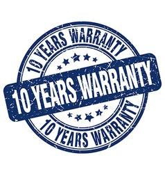 10 years warranty blue grunge round vintage rubber vector