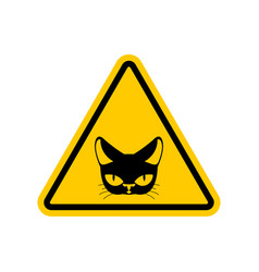 attention cat danger yellow road sign pet caution vector image vector image