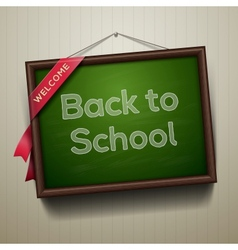 Back to school written on blackboard with chalk vector image