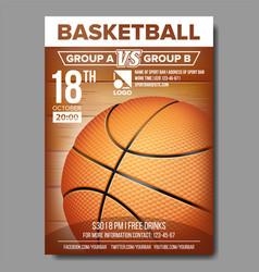 Basketball poster sport event announcement vector