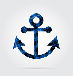 Blue black tartan isolated icon - boat anchor vector