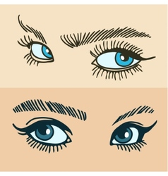 Blue womens eyes vector