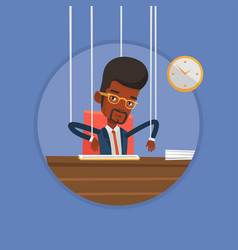Businessman marionette on ropes working vector