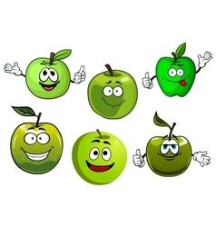 Cartoon fresh green smith apple fruits vector image vector image