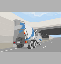 Cement truck on the road vector
