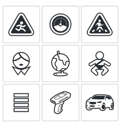 Child safety icons vector