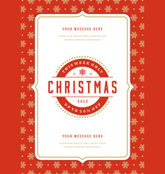 Christmas sale flyer or poster design discount vector