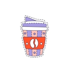 Coffee In Plastic Cup Bright Hipster Sticker vector image vector image