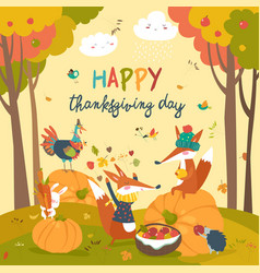 Cute animals celebrating thanksgiving day vector