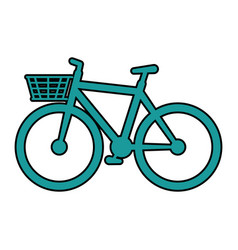 Cute bicycle with basket vector