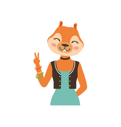 Cute fashion fox girl character showing victory vector