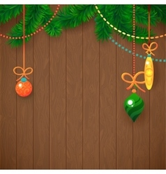 Decorated merry christmas tree branch happy new vector