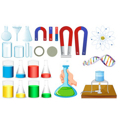 different sizes of beakers and magnets vector image vector image