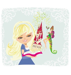Dreaming about fairytale castle vector