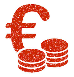 Euro coins icon grunge watermark vector