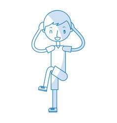 Fitness boy exercising vector