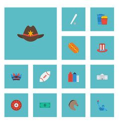 Flat icons sausage greenback snack and other vector