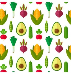 Flat vegetables seamless pattern vector