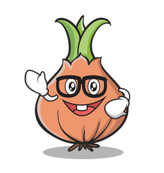 Geek face onion character cartoon vector