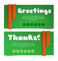 Greetings cards with lettering in paper style vector