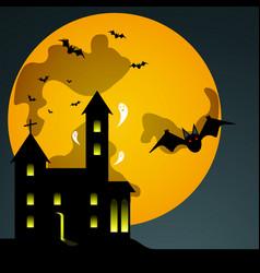 Halloween black castle on yellow moon background vector