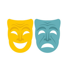 Happy and sad mask icon flat style vector
