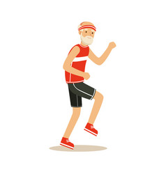 Happy senior runner man doing exercise to stay vector
