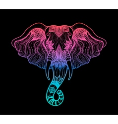 Head of a elephant line art boho design of Indian vector image
